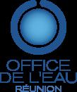 Logo de l'Office de l'Eau de la Réunion : une pastille bleue dans une couronne bleue brisée en haut